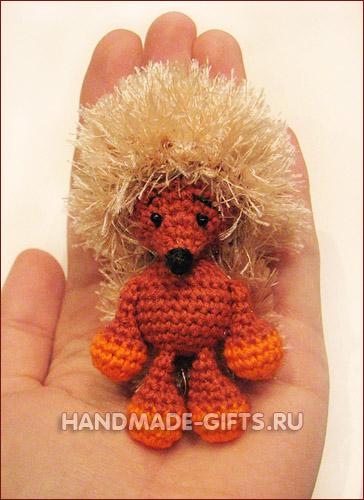 Купить вязаного ежика миниатюру