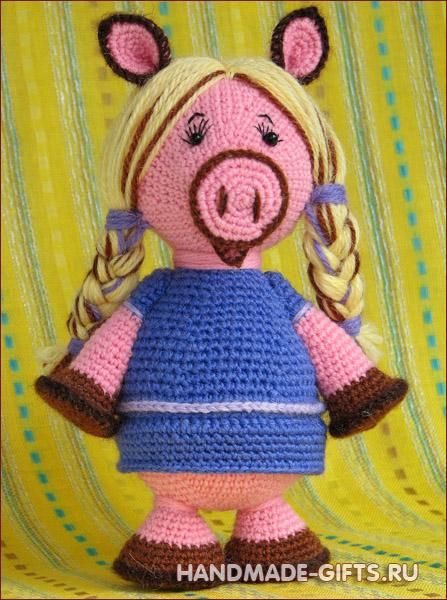 Вязаная хрюшка Купить вязанную крючком свинку