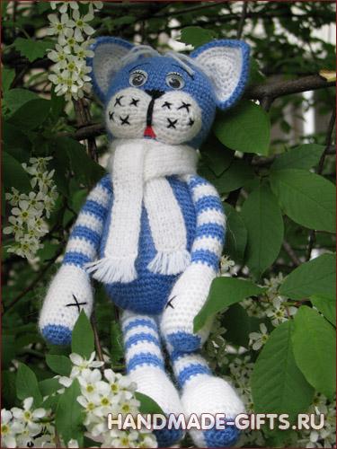 Вязаный кот Мурзик Синий