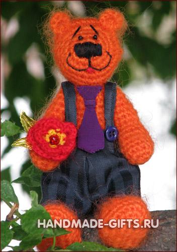 Вязаный медведь Оранжевое настроение