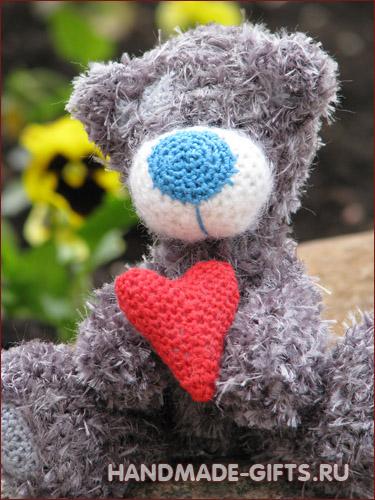 Вязаный медведь Тедди ЛяМур вязанный крючком Купить Ручная работа Хэндмэйд Подарок.