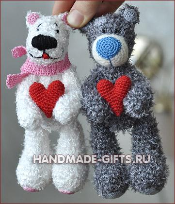 Вязаный медведь Тедди ЛяМур вязанный крючком Купить Ручная работа Хэндмэйд Подарок