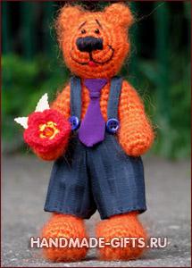 Миша оранжевое настроение Медведи: вязаные игрушки подарки ручной работы handmade-gifts