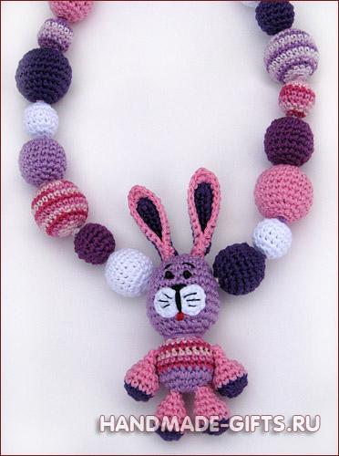 Бусы слингобусы мамабусы с зайчиком - купить слингобусы с зайцем - купить заяц зайка зайцы - Подраки ручной работы - Символ 2011 года