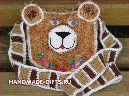 Детская вязаная сумочка Медведь сумка Мишка.