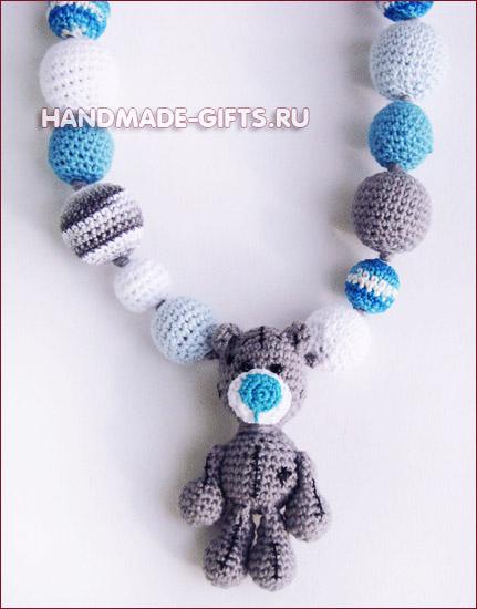 Кормительные бусы слингобусы с мишкой тедди для малыша Подарок новорожденному