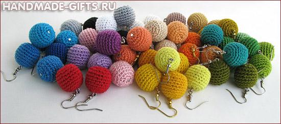 Разноцветные серьги ручной работы