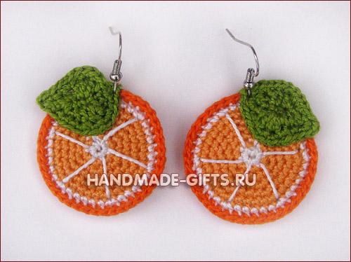 Вязанные серьги и кулон дольки апельсина