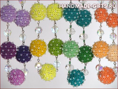 Комплект серьги и бусы вязаные Фантация - купить серьги и бусы разных цветов