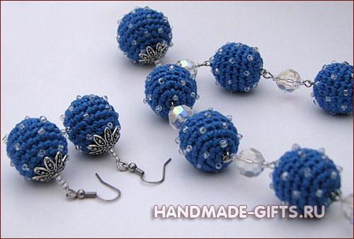 Комплект серьги и бусы вязаные - купить вязанные крючком сережки и бусы.