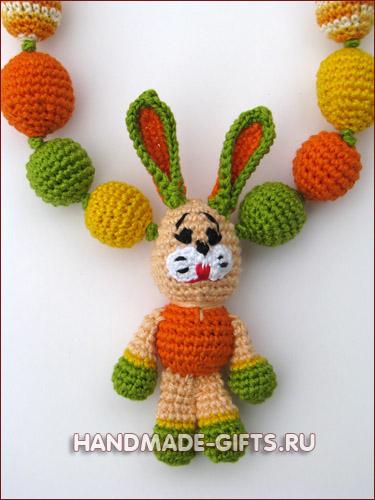 Бусы слингобусы мамабусы с зайчиком Солнечное лето - купить слингобусы с зайцем - купить яркий заяц Символ 2011 года Ручная работа