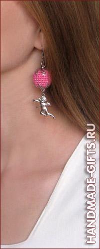 Вязаные серьги ручной работы купить розовые ангелочки сережки