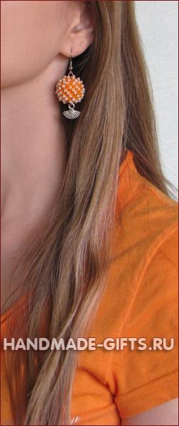 Вязаные серьги ручной работы купить оранжевые веера сережки
