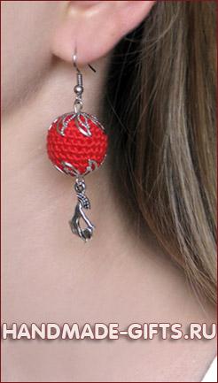 Вязаные серьги ручной работы купить красные сердца сережки сердце