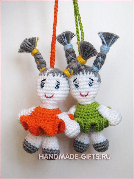 вязаная кукла подвеска, купить куклу, миниатюра, амигуруми, кукла, вязать куклу, авторская кукла