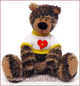 вязаный мишка купить, вязаный медведь купить, мишка с сердцем, вязаный мишка, вязаный медведь, вязаные игрушки