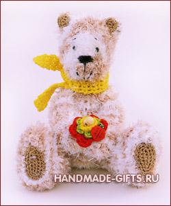 вязаный мишка тедди, вязаный мишка, вязаный медведь, вязанный крючком мишка, вязаные игрушки, медведь, мишка, купить