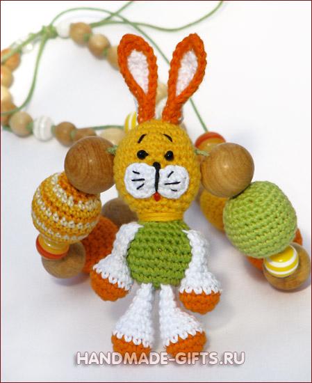 слингобусы, слингобусы купить, вязаные бусы с игрушкой, вязаный зайчик, мамабусы, кормительные бусы, слинго-бусы