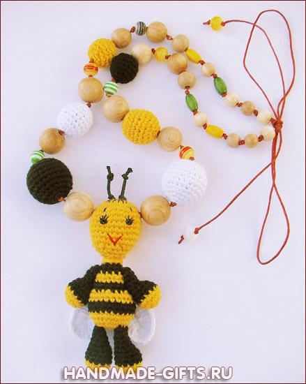 слингобусы, слингобусы купить, вязаные бусы с игрушкой, вязаная пчелка, пчела, мамабусы, кормительные бусы, слинго-бусы