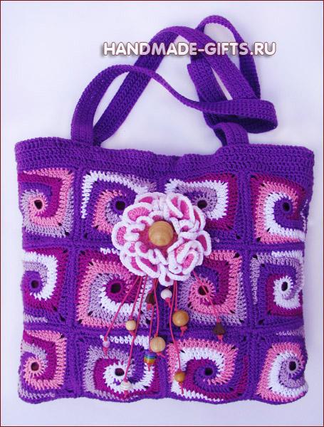 купить вязаную сумку, вязаные сумки, вязать сумку, сумка из мотивов, летняя вязаная сумка, сумки ручной работы