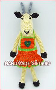 купить вязаную козу, символ 2015 года, вязаная коза, купить вязаные игрушки