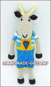 купить вязаного козлика, коза символ 2015 года, вязаный козлик, купить вязаные игрушки