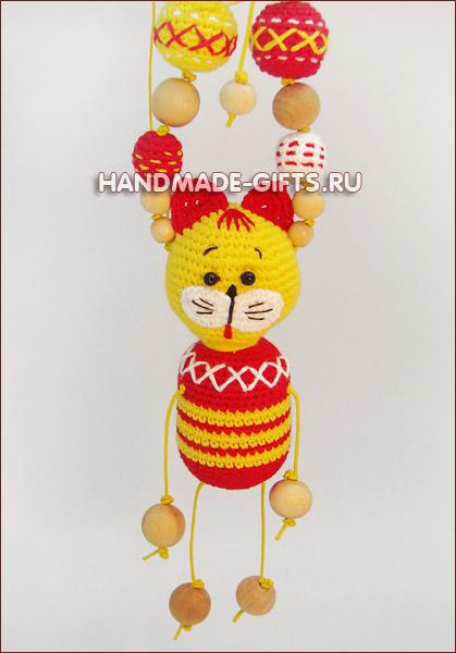 слингобусы, купить слингобусы, слингобусы с котом, слингобусы с игрушкой, кот, мамабусы, кормительные бусы, вязаный кот