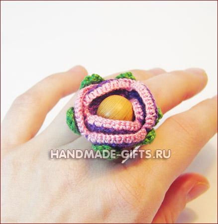 вязаный комплект бусы серьги кольцо купить, вязаные бусы, вязаные серьги, вязаное кольцо