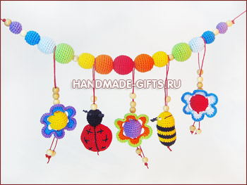 слингобусы, купить слингобусы, вязаные бусы, мамабусы, кормительные бусы, вязаные цветы, вязаная божья коровка, вязаная пчелка, растяжка для кроватки, растяжка для коляски, слингобусы с игрушкой