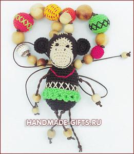 слингобусы, купить слингобусы, вязаные бусы, мамабусы, кормительные бусы, вязаная обезьяна, вязаная обезьянка, вязаные бусы с обезьяной, слингобусы с игрушкой