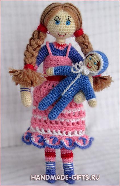 Кукла Маша вязанная крючком.